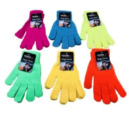36 Units of Neon Color Stretch Winter Gloves Unisex - Knitted Stretch Gloves