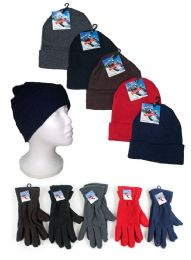 120 Units of Adult Cuffed Knit Hats And Women's Fleece Gloves Combo Packs - Winter Sets Scarves , Hats & Gloves