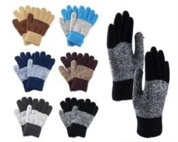 144 Units of Big Kids Winter Two Tone Pattern Gloves With Fur Inside - Kids Winter Gloves