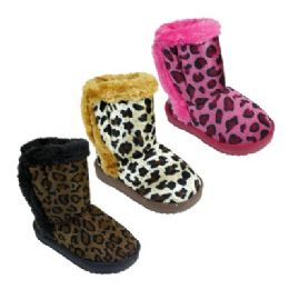 36 Units of Girl's Assorted Color Animal Print Boots - Girls Boots