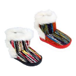36 Units of Kid's Colorful Fur Boots - Unisex Footwear