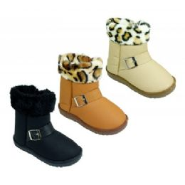 12 Units of Girls' Assorted Color Fur Boots - Girls Boots
