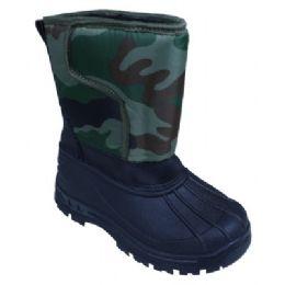 18 Units of Kids Camo Winter Boot - Unisex Footwear