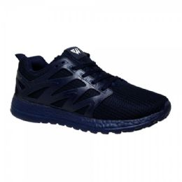 12 Units of Men's Lightweight Athletic Fashion Sneaker In Navy - Men's Sneakers