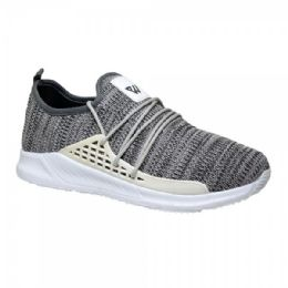 12 Units of Men's Lightweight Athletic Fashion Sneaker In Grey - Men's Sneakers
