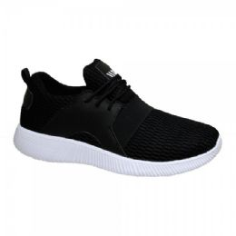 12 Units of Men's Lightweight Athletic Fashion Sneaker In Black Only - Men's Sneakers