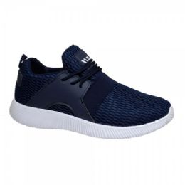 12 Units of Men's Lightweight Athletic Fashion Sneaker In Navy Blue - Men's Sneakers