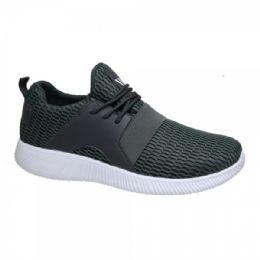 12 Units of Men's Lightweight Athletic Fashion Sneaker In Dark Grey - Men's Sneakers