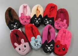 60 Units of Girls Animal Slippers - Girls Slippers