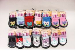 60 Units of Girls Printed Slipper Socks - Girls Slippers