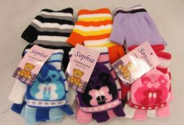 300 Units of Girls Fingerless Glove with Cover - Kids Winter Gloves