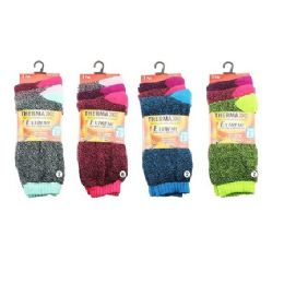 36 Units of Ladies Thermal Crew Socks 9-11 [Assorted] - Womens Thermal Socks