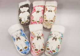 120 Units of Ladies Mitten With Bear Design - Winter Gloves