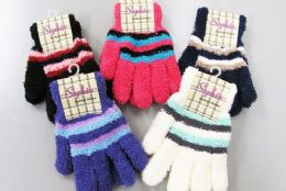 120 Units of Ladies Cozy Glove With Stripe - Winter Gloves