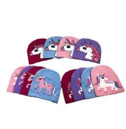 36 Units of Child's Unicorns Knit Beanie Hat - Junior / Kids Winter Hats