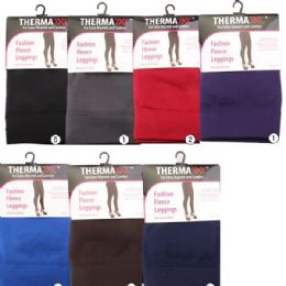36 Units of Fashion Fleece Leggings Assorted Colors - Womens Leggings
