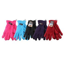 36 Units of Womens Assorted Color Fleece Gloves - Fleece Gloves