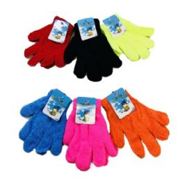 24 Units of Kids Knitted Stretch Gloves - Kids Winter Gloves