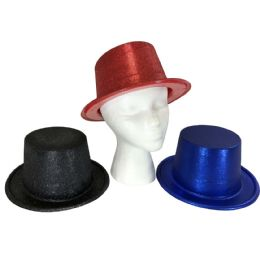48 Units of Party Solutions Glitter Bucket Party Hat Assorted Colors - New Years