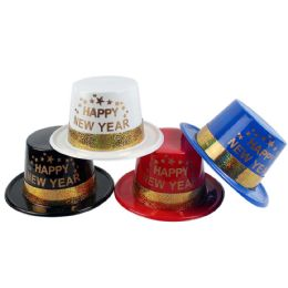 48 Units of Party Solution Happy New Year Party Hat Assorted Colors - New Years