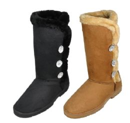 18 Units of Ladies Tall Winter Boot With Fur And Buttons Design - Women's Boots