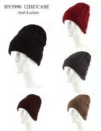 72 Units of Adults Ribbed Heavy Knit Winter Hat - Winter Hats