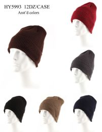 72 Units of Adults Heavy Knit Fur Lined Winter Hat - Winter Hats