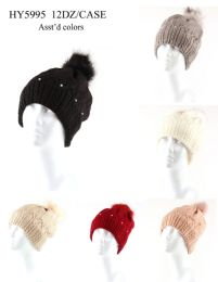 48 Units of Womans Heavy Knit Winter Pom Pom Hat With Beads Design - Winter Hats