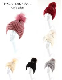 72 Units of Womans Heavy Knit Winter Pom Pom Hat With Studs Design - Winter Hats