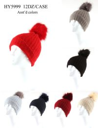 24 Units of Woman's Heavy Knit Winter Pom Pom Hat Assorted Colors - Winter Hats