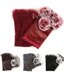 72 Units of Womans Fashion Fingerless Gloves With Pom Pom - Winter Gloves