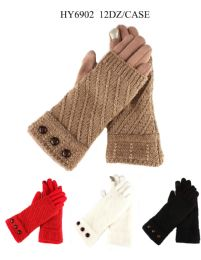 24 Units of Woman's Fashion Knit Texting Gloves - Winter Gloves