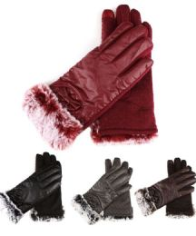 72 Units of Womans Fashion Fur Cuffed Extreme Weather Texting Gloves - Winter Gloves