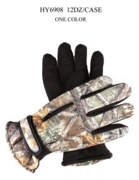 48 Units of Adults Camouflage Ski Glove With Gripper Palm And Zipper Pocket - Winter Gloves