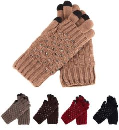 36 Units of Womans Heavy Knit Winter Gloves With Studs Design - Winter Gloves