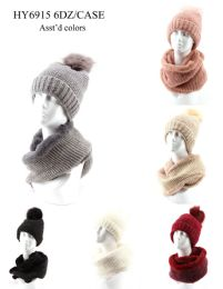 36 Units of Womans Heavy Knit Winter Pom Pom Hat And Plush Knit Scarf Fleece Lined - Winter Sets Scarves , Hats & Gloves