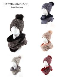 24 Units of Womans Heavy Knit Winter Pom Pom Hat And Plush Knit Scarf With Plush Lined - Winter Sets Scarves , Hats & Gloves