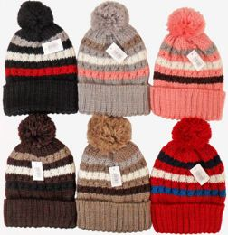 24 Units of Woman's Striped Knit Ski Hat With Pompom - Winter Hats