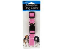 72 Units of Fashion Pink Adjustable Nylon Dog Collar - Pet Toys