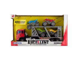 6 Units of Friction Powered Double Trailer Truck with ATVs Set - Cars, Planes, Trains & Bikes