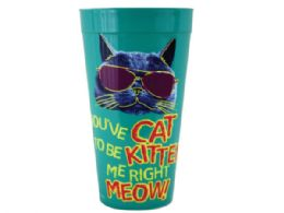 144 Units of You've Cat to Be Kitten Me Plastic Tumbler Cup - Cups