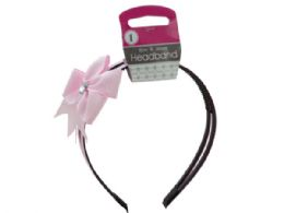 72 Units of Alice Headband with Bow & Jewel Accent - Headbands