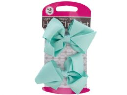72 Units of Light Blue Ribbon Bow Hair Clips Set - Hair Accessories
