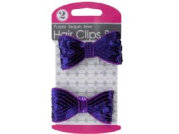 144 Units of Purple Sequin Bow Hair Clips Set - Hair Accessories