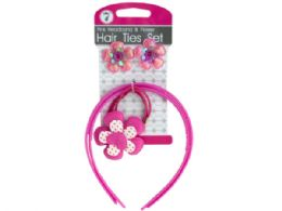 72 Units of Pink Headbands & Flower Hair Ties Set - Hair Accessories