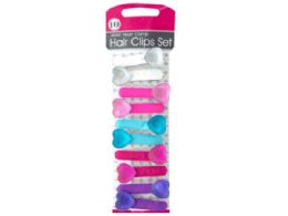 72 Units of Jewel Heart Clamp Hair Clips Set - Hair Accessories