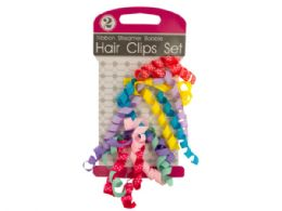 72 Units of Ribbon Streamer Bobble Hair Clips Set - Hair Accessories
