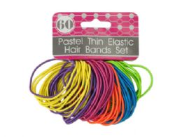 72 Units of Pastel Thin Elastic Hair Bands Set - Hair Accessories