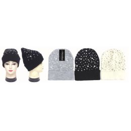 36 Units of Women's Rhinestone And Stars Hat - Winter Beanie Hats