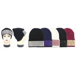 24 Units of Winter Fashion Diamond Hat - Winter Beanie Hats